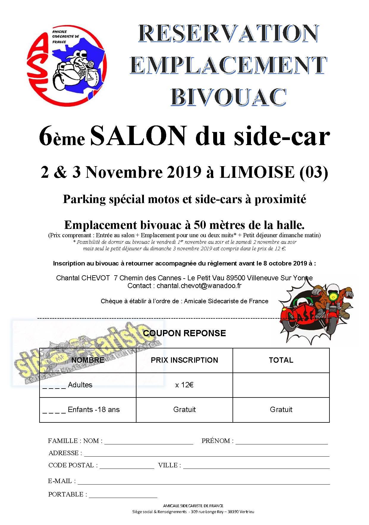 Salon 2019 reservation emplacement bivouac